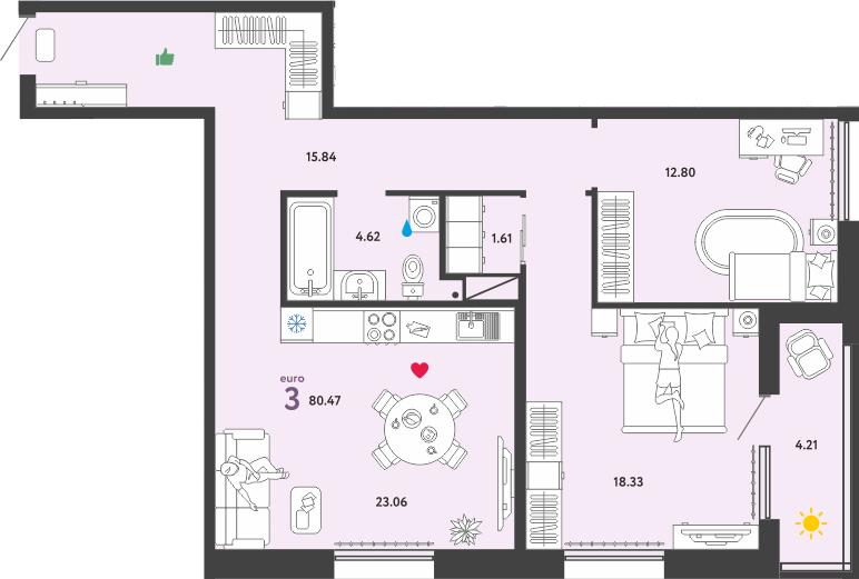 3Е-к.кв, 80.47 м², 4 этаж