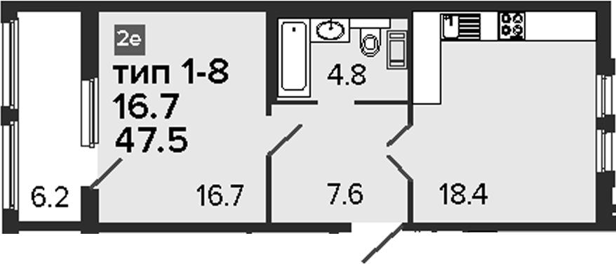 2-к.кв (евро), 53.7 м²