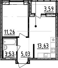 1-комнатная квартира, 33.45 м², 6 этаж – Планировка