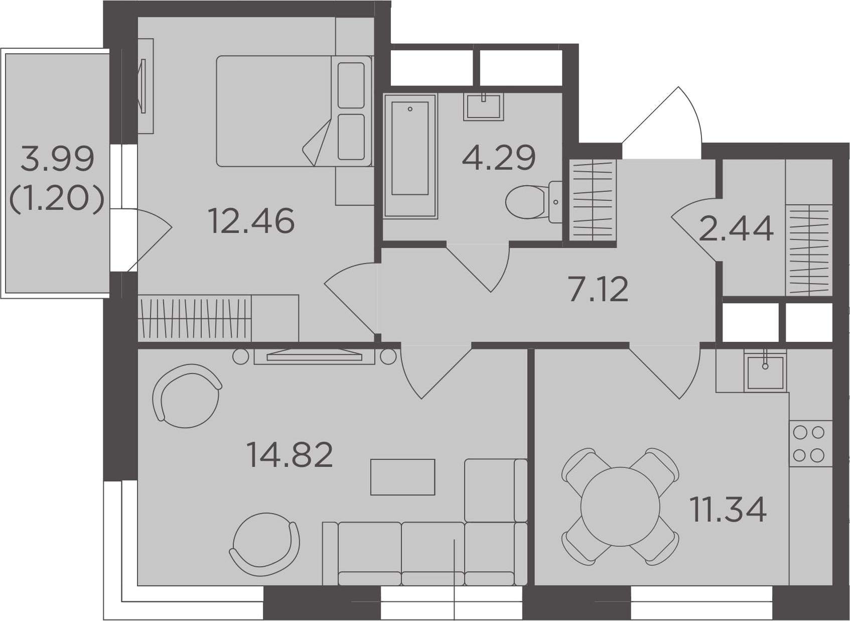 2-к.кв, 53.67 м²