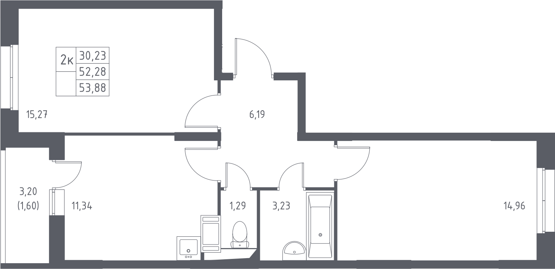 2-комнатная, 53.88 м²– 2