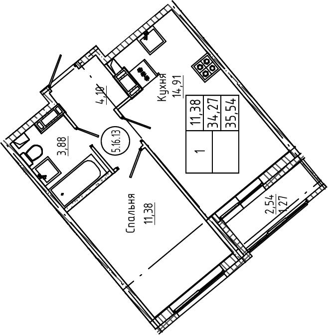 1-к.кв, 35.54 м², от 4 этажа