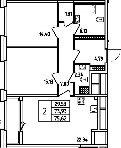 3Е-комнатная, 75.62 м²– 2