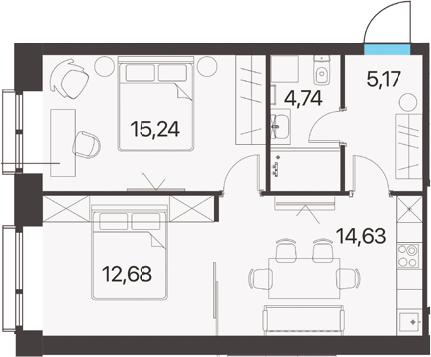 2-комнатная, 52.46 м²– 2