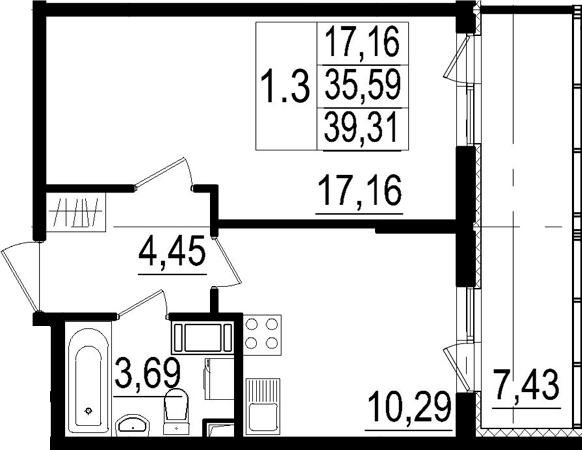 1-к.кв, 35.59 м²