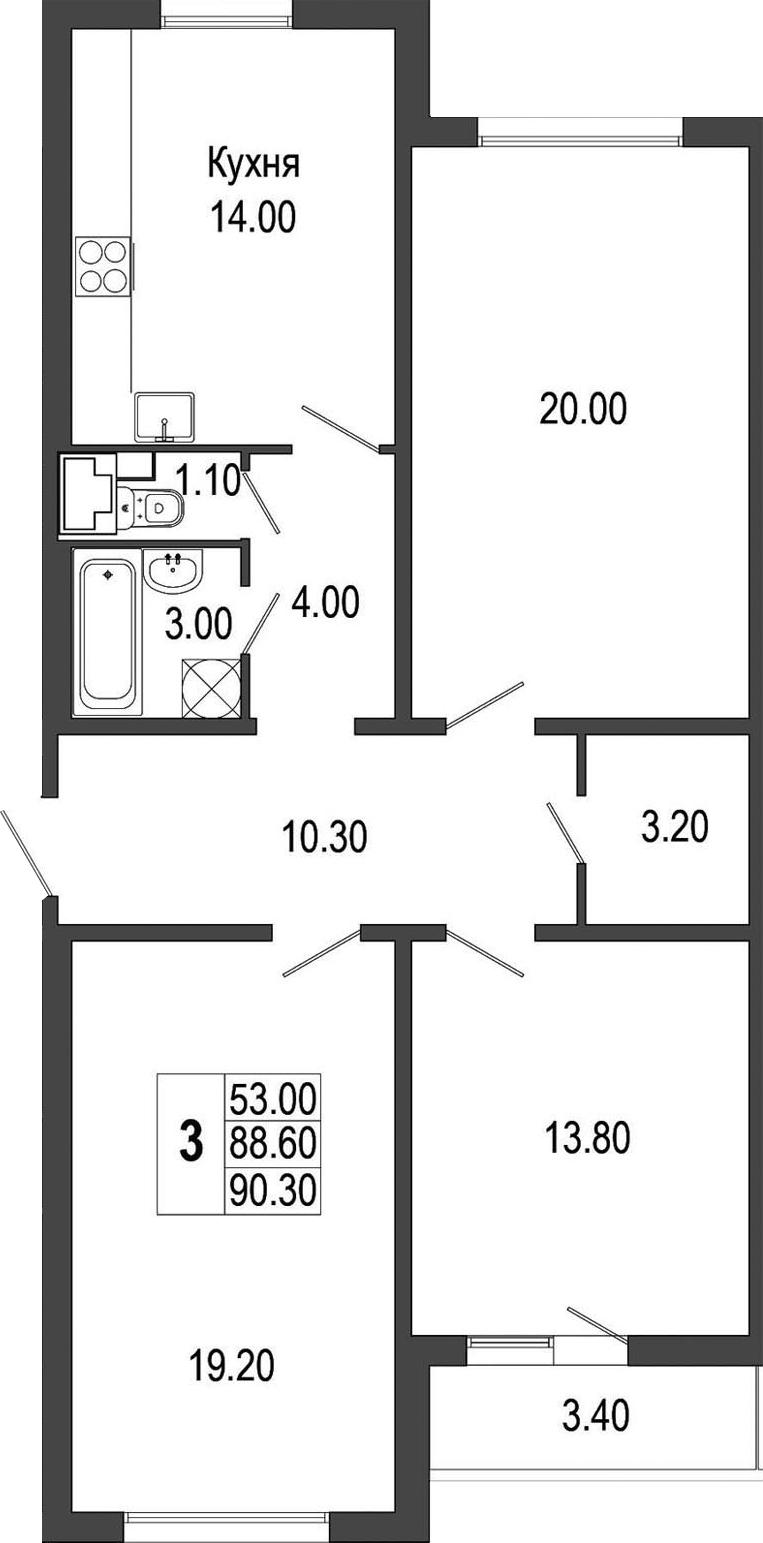 3-к.кв, 92 м²