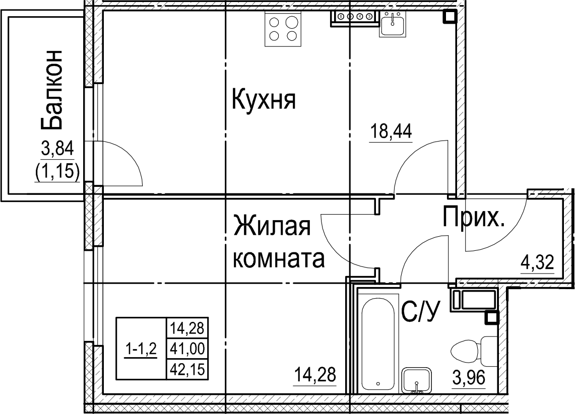 2-к.кв (евро), 44.83 м²