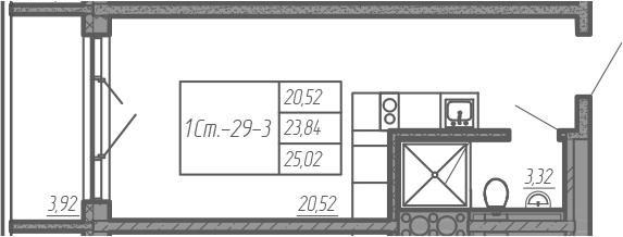 Студия, 25.02 м²– 2
