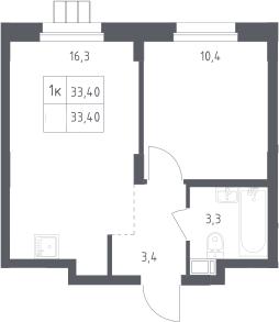 1-к.кв, 33.4 м²