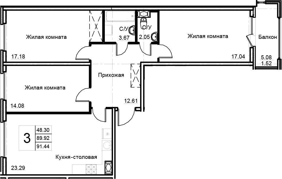 4-к.кв (евро), 94.99 м²