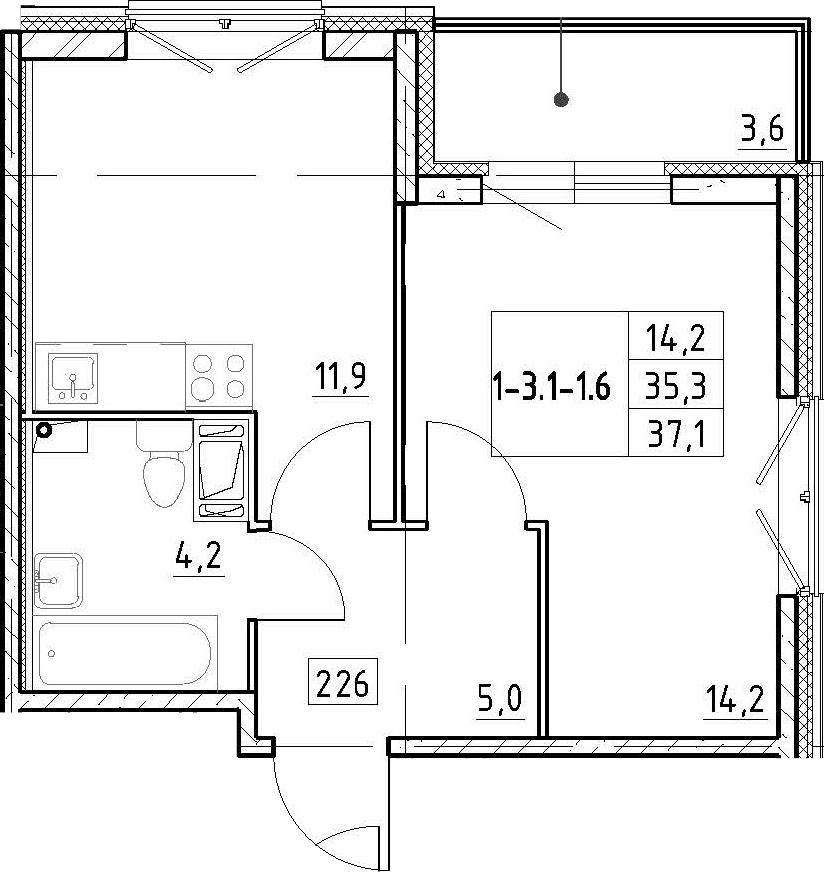 1-к.кв, 37.1 м², 4 этаж