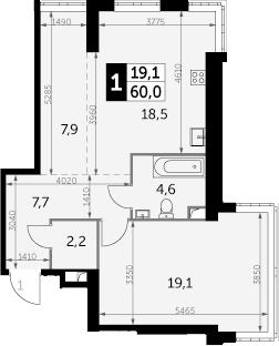 1-комнатная, 60 м²– 2