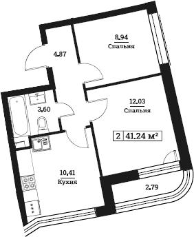 2-к.кв, 41.25 м²