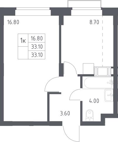 1-к.кв, 33.1 м², 15 этаж