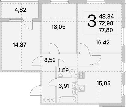 4Е-к.кв, 75.39 м², 1 этаж