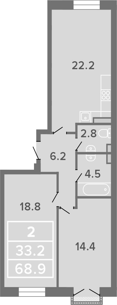 2-комнатная, 68.9 м²– 2