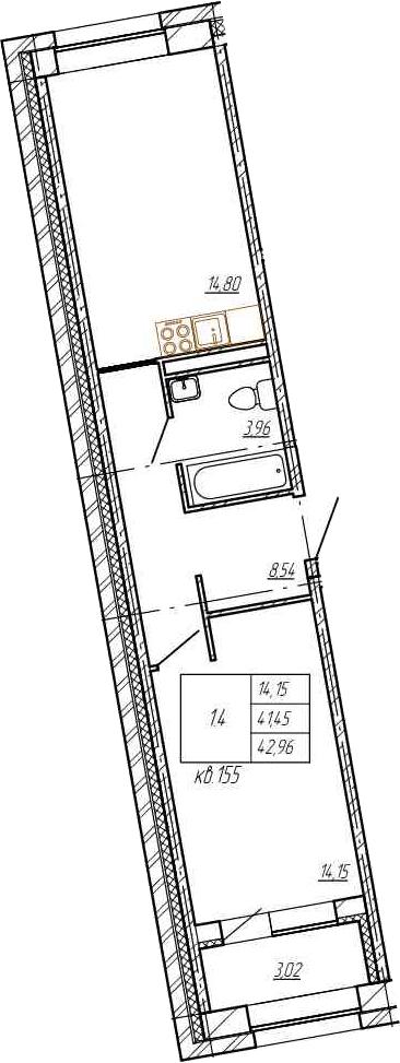 1-к.кв, 41.45 м²