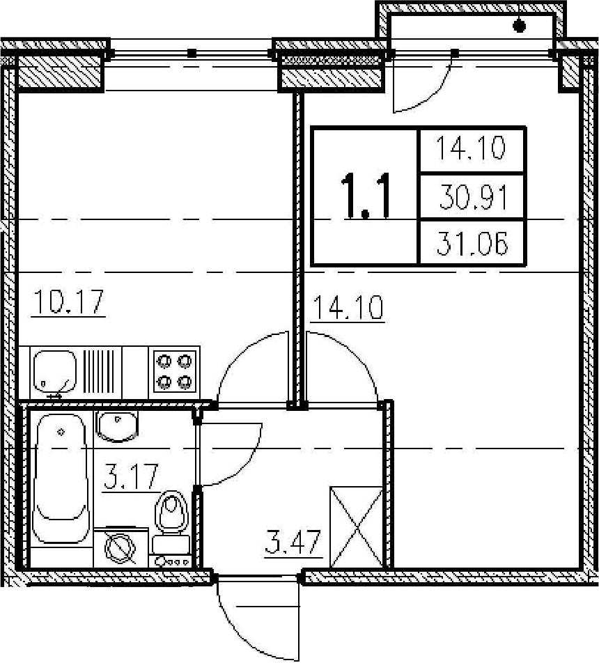 1-к.кв, 31.41 м²