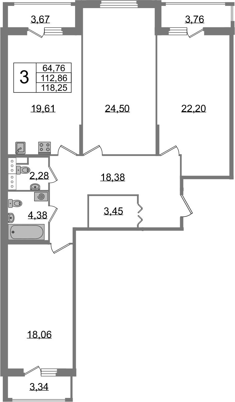 3-к.кв, 112.86 м²
