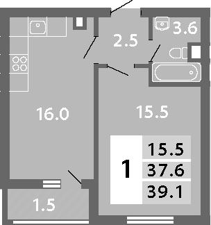2-к.кв (евро), 40.58 м²