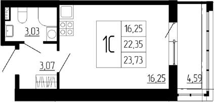 Студия, 22.35 м²