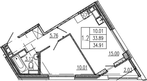 2Е-к.кв, 33.89 м², от 9 этажа