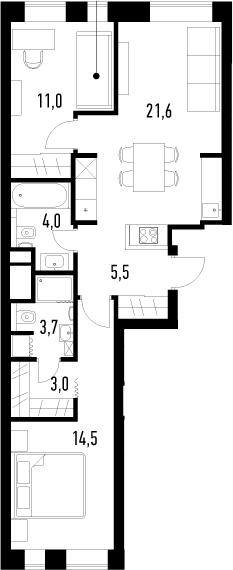 3-к.кв (евро), 63.3 м²