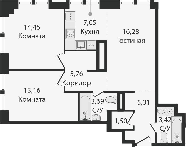 3Е-комнатная, 70.62 м²– 2