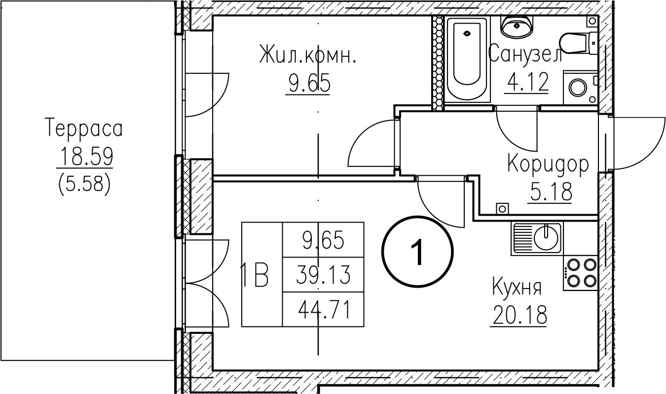 1-к.кв, 57.73 м²