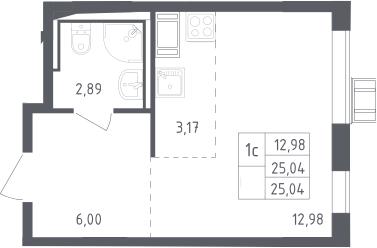 Студия, 25.04 м², 17 этаж
