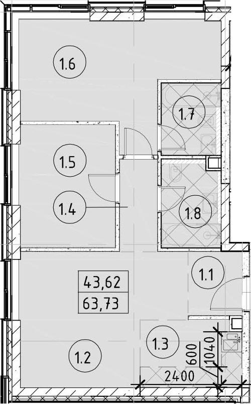 3Е-комнатная, 63.73 м²– 2