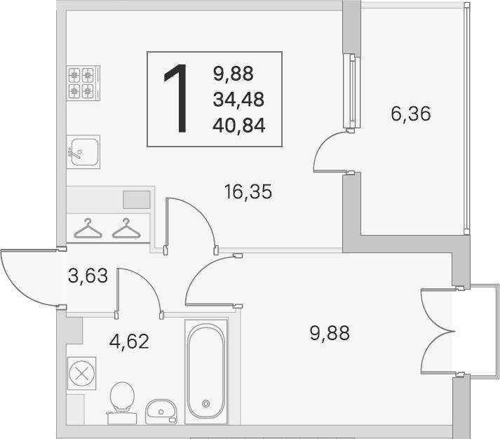 2Е-к.кв, 34.48 м², 3 этаж