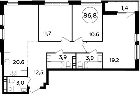 4Е-комнатная квартира, 86.8 м², 20 этаж – Планировка