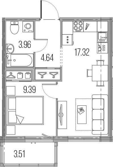 2Е-комнатная, 35.31 м²– 2