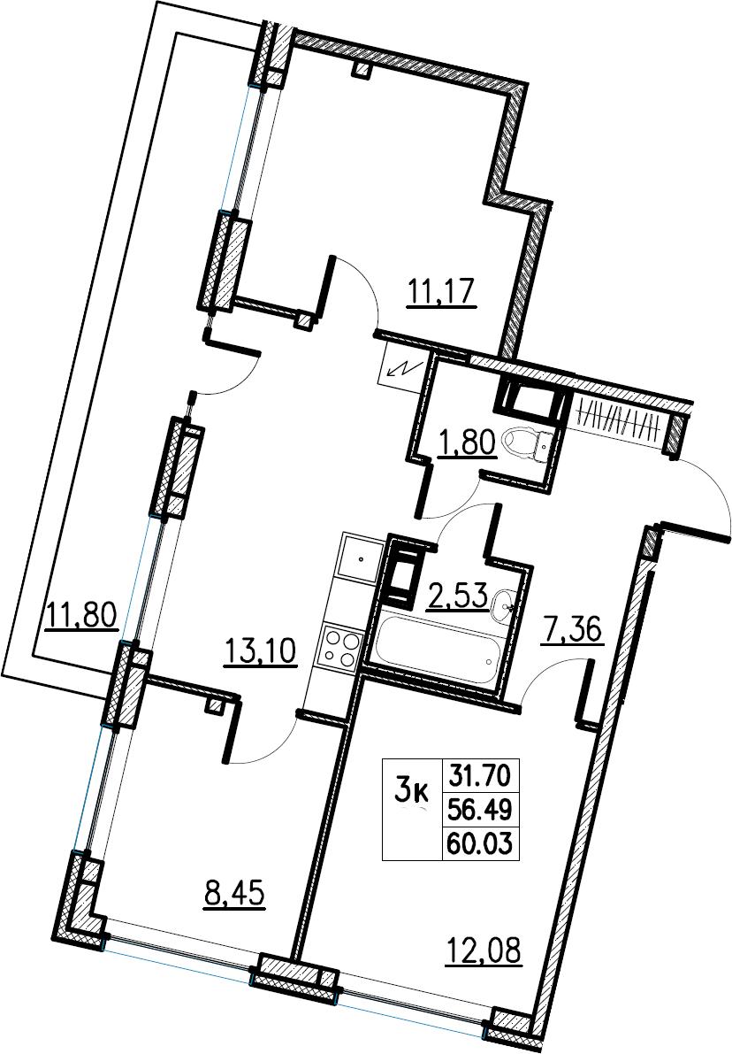 4Е-комнатная, 60.03 м²– 2