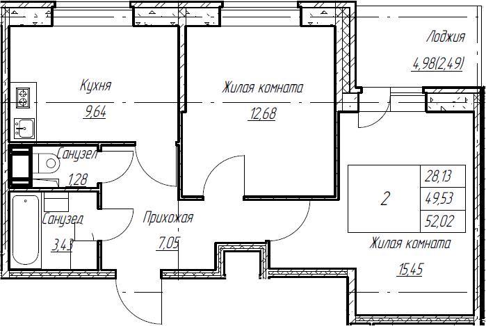 2-к.кв, 52.02 м², от 3 этажа