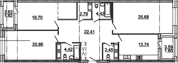3-комнатная, 116.47 м²– 2