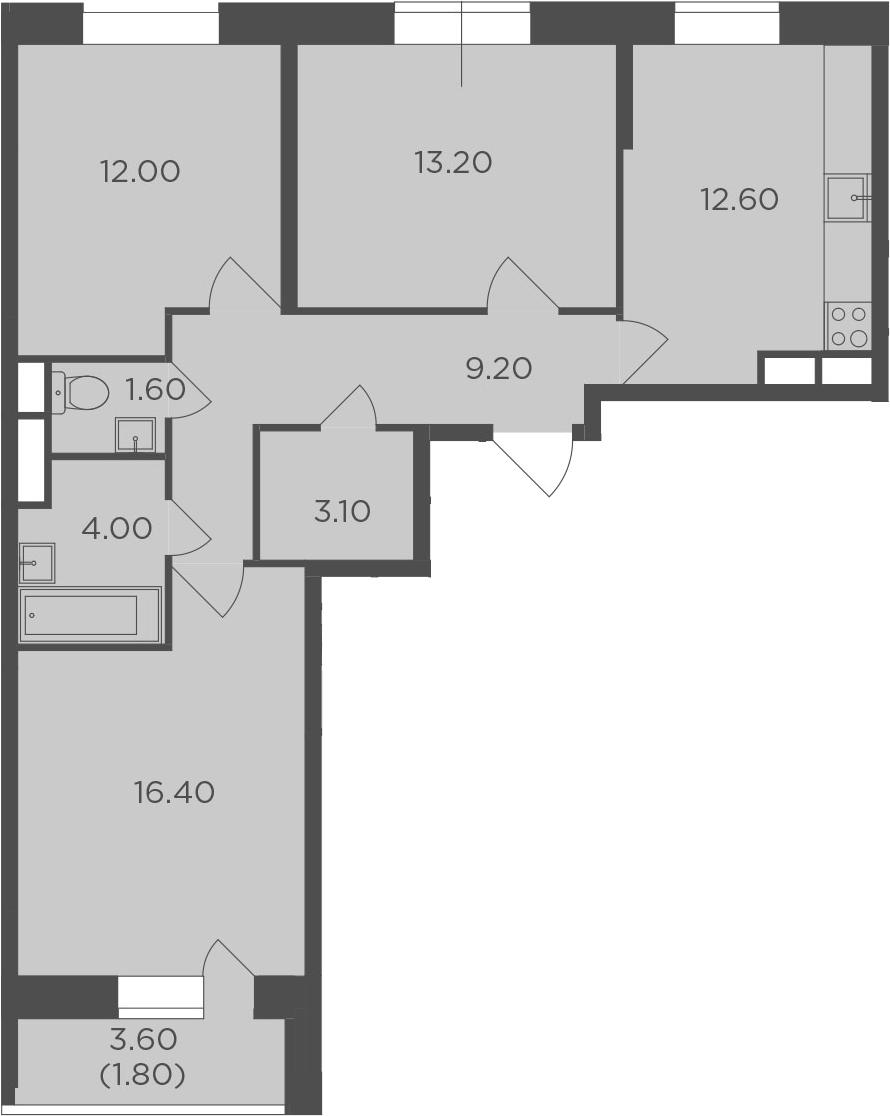 3-комнатная, 73.9 м²– 2