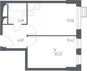 2Е-к.кв, 35.13 м², 27 этаж