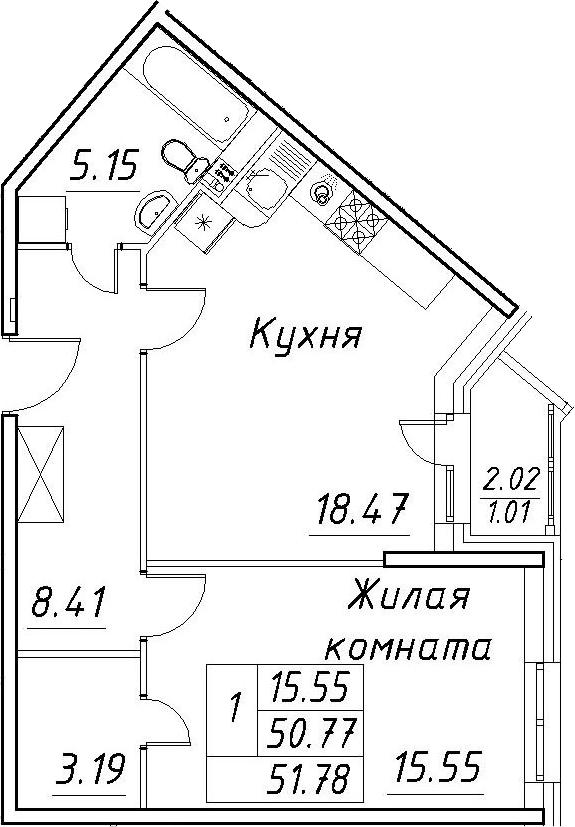 2-к.кв (евро), 52.79 м²