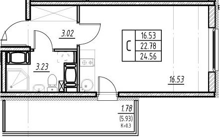 Студия, 28.71 м², 20 этаж – Планировка