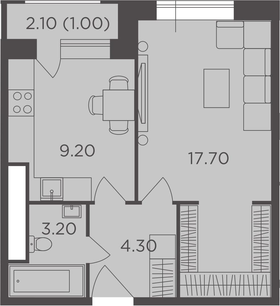 1-к.кв, 35.4 м², 23 этаж