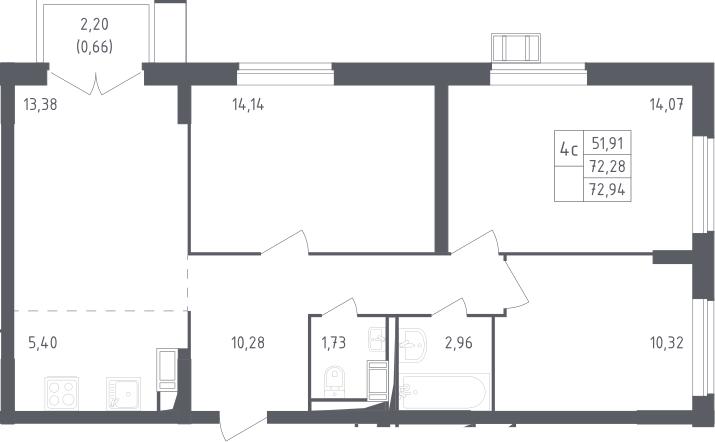 4Е-к.кв, 72.94 м²