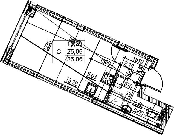 Студия, 25.06 м²– 2