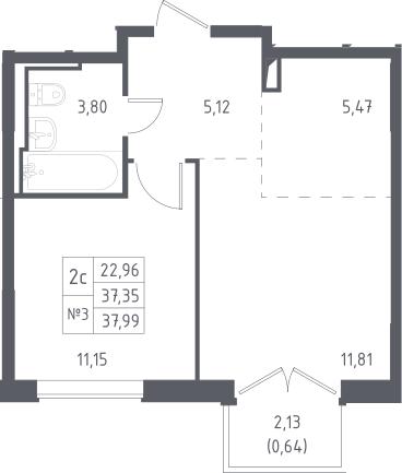 2Е-к.кв, 37.99 м², 9 этаж