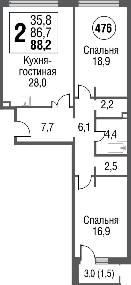3Е-комнатная, 87.4 м²– 2