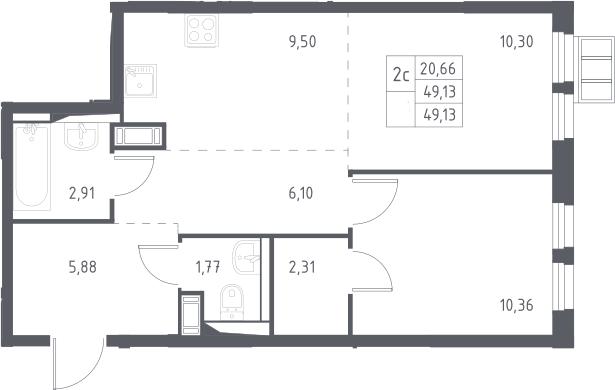2Е-комнатная, 49.13 м²– 2