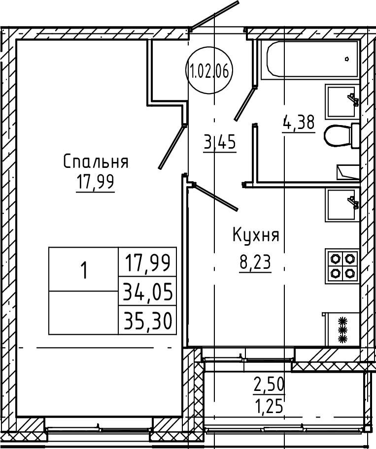 1-к.кв, 35.3 м², 2 этаж