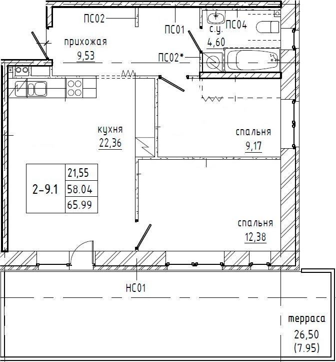 2-к.кв, 84.54 м²