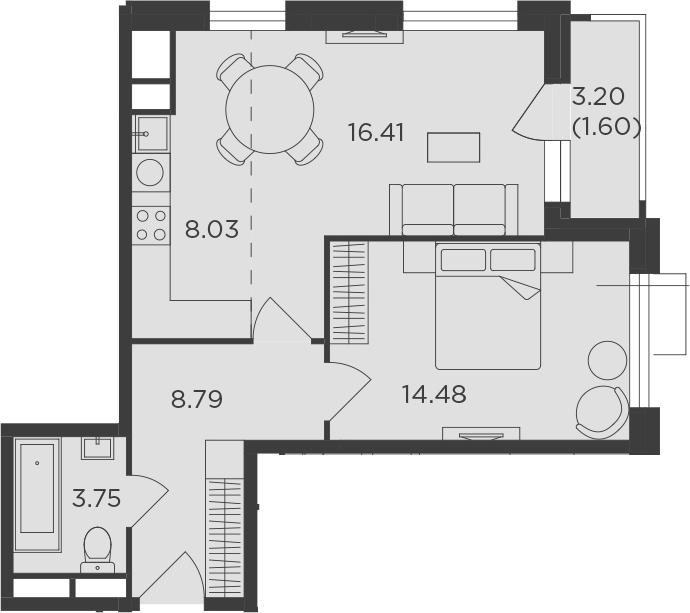 2Е-к.кв, 53.06 м², 5 этаж